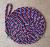 10 metre 14mm Tri Colour Blue, Black & Red Mooring Line